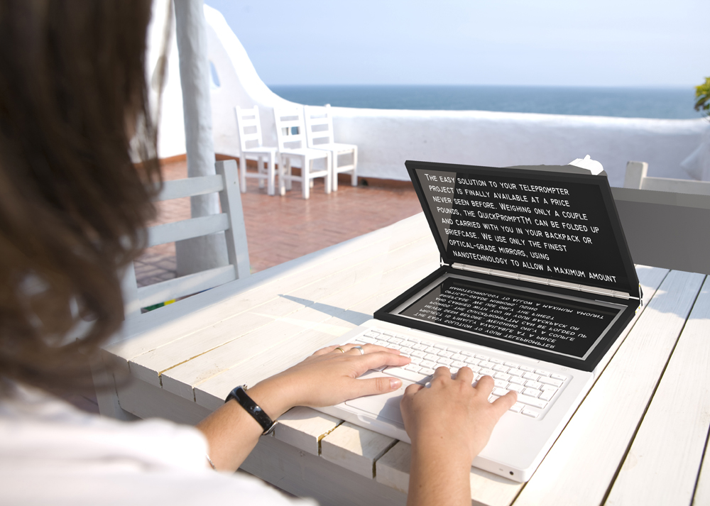 A Young Woman Taken From Her Back Side, Writing On A White Laptop In A Mediterranean Look Terrace With The Sea At The Back.